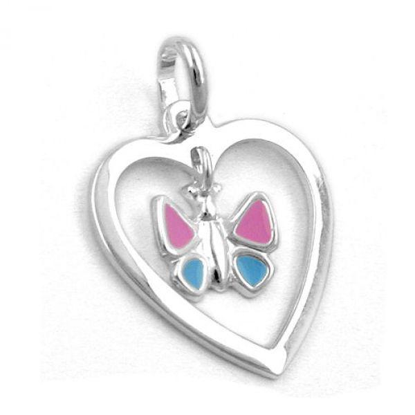 Anhänger Schmetterling/Herz, Silber 925
