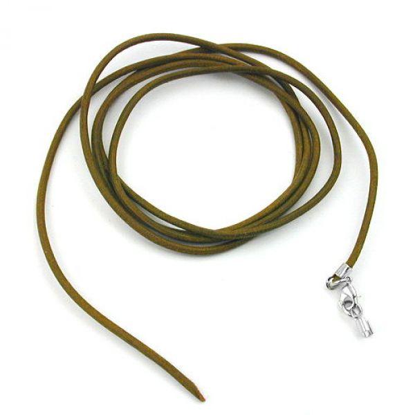 Band, Leder oliv-khaki, 1x Verschluss si 100cm