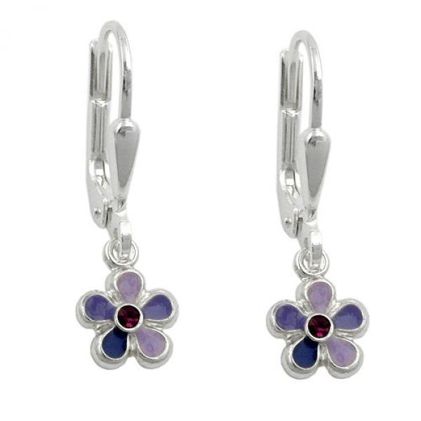 Brisur, Blume lila-lackiert Silber 925