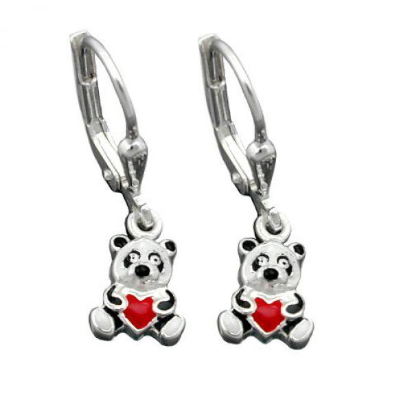 Brisur, kleiner Panda-Bär, Silber 925