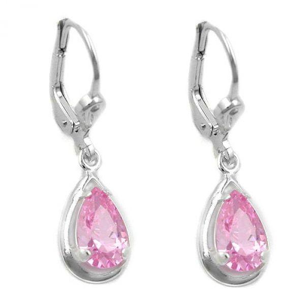 Brisur, Zirkonia pink, Silber 925