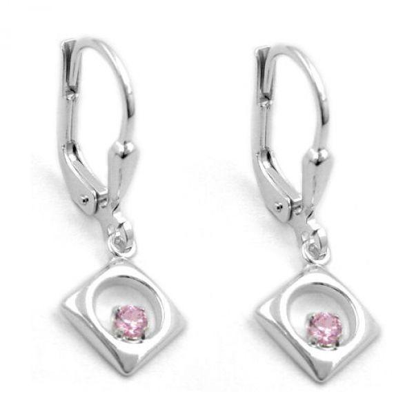 Brisur Viereck Zirkonia pink Silber 925