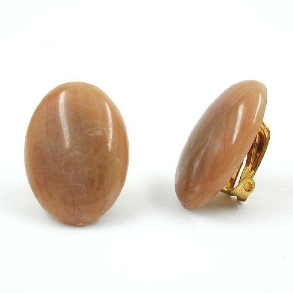 Clip, oval, braun-marmoriert-glänzend