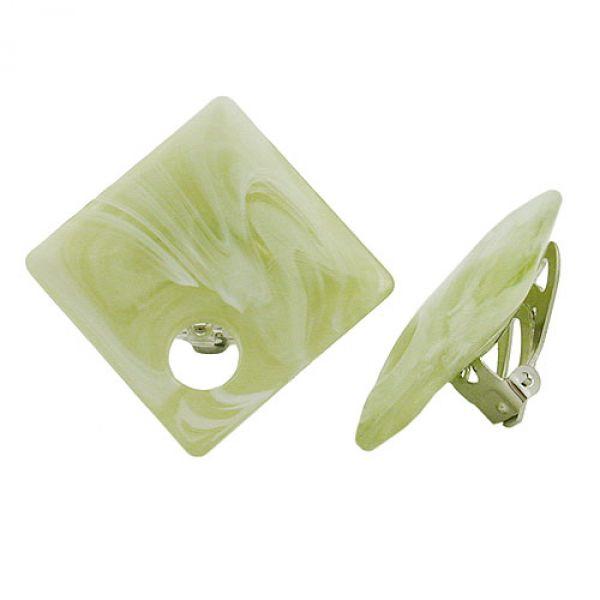Clip, Viereck mit Loch, lindgrün-weiß