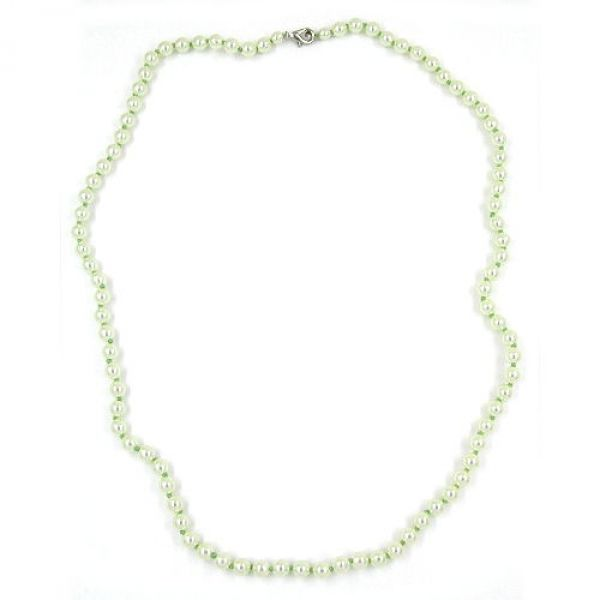 Collier, 60, Glasperlen mint geknotet 60cm