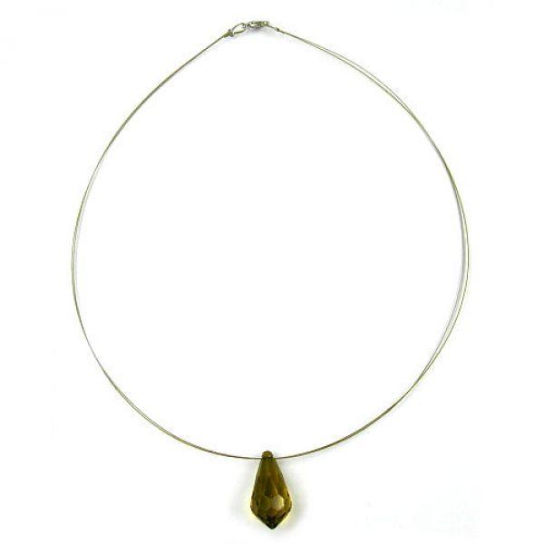 Collier, Birne oliv facettiert, Draht 42cm