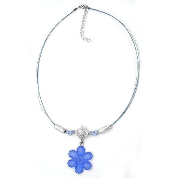Collier, Blüte blau-transparent 42cm