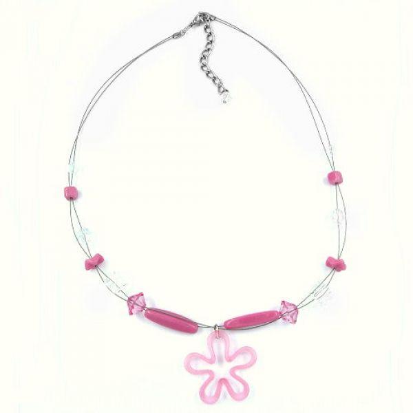 Collier, Blume rosa, kristall, Draht 45cm