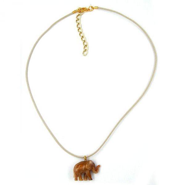 Collier, Elefant mini, braun-glänzend 40cm