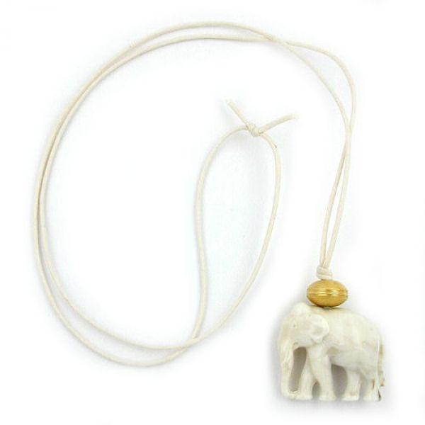 Collier, Elefant weiß-gold-marmoriert 90cm