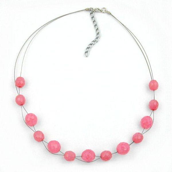 Collier, Glas, Facettenperle rosa 45cm