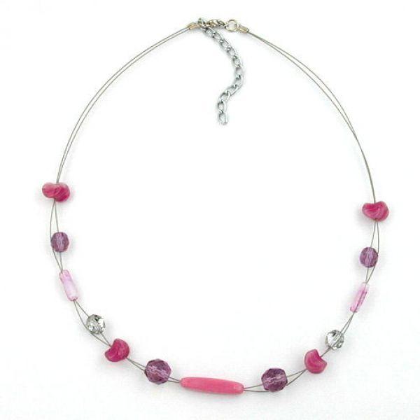 Collier, Glas, flieder-rosa, Draht 45cm