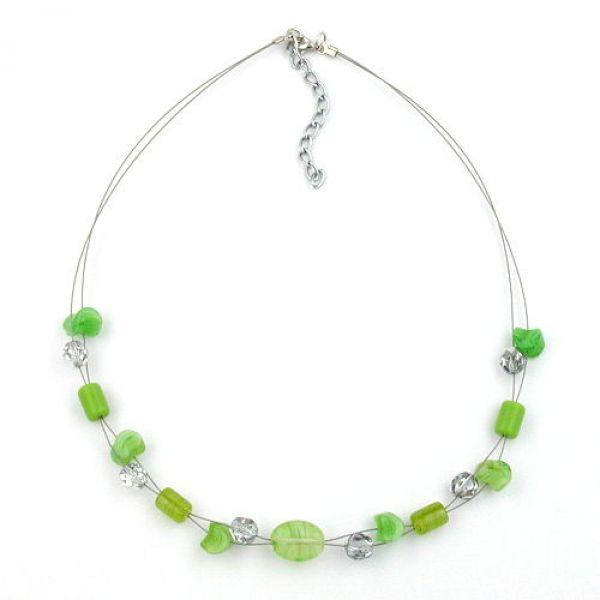 Collier, Glas, lindgrün, Draht 45cm