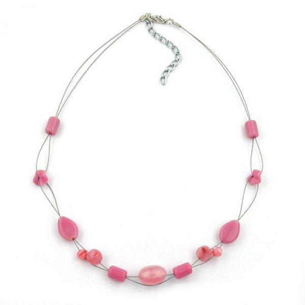 Collier, Glas, rosa, Draht 45cm