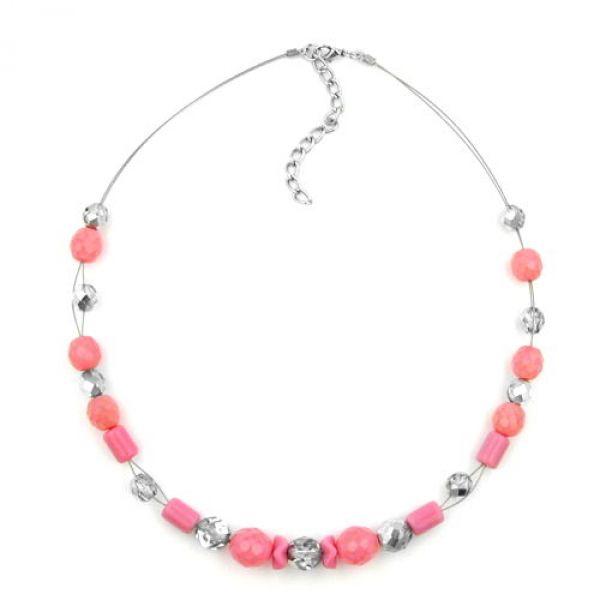 Collier, Glas, rosa, silber-verspiegelt 42cm