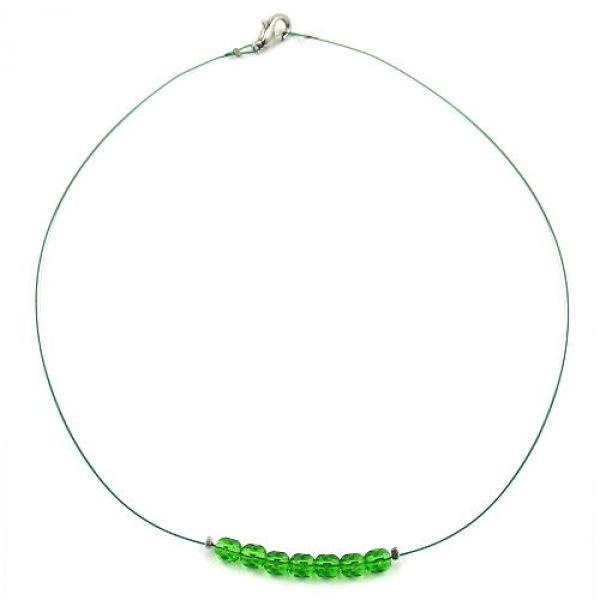 Collier, Glas, Schliffperle grün 40cm