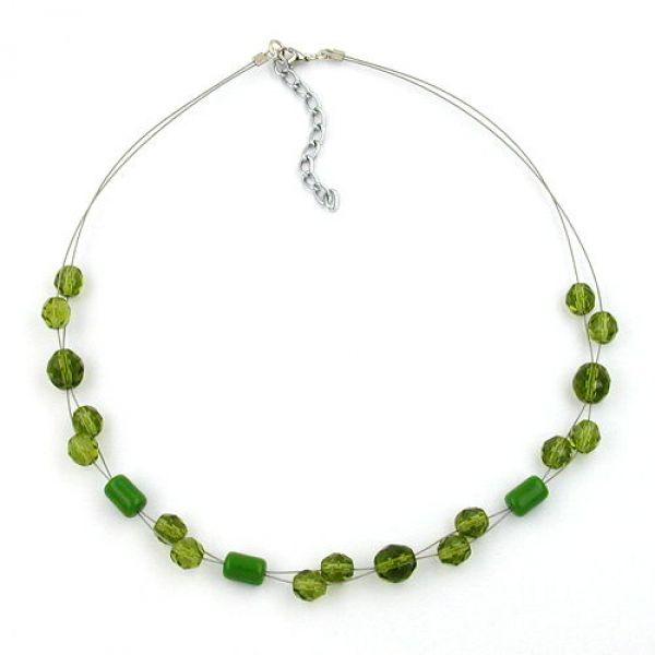 Collier, Glasperle facettiert grün 43cm