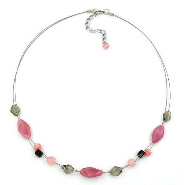 Collier, Glasperle rosa-grau, Draht 45cm