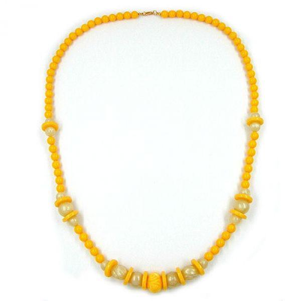 Collier, Gravurperle gelb, gelb-seide 75cm
