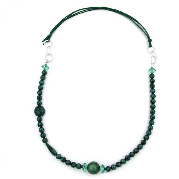 Collier, grün-türkis seidig, Ringe chrom 90cm
