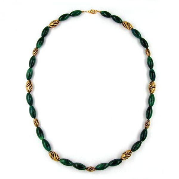 Collier, Olive grün-marmoriert, altgold 60cm