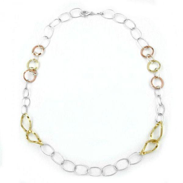 Collier, Ringe 3-farbig, 925 53cm