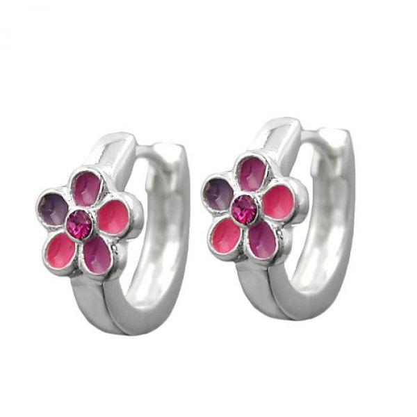Creole, Blume pink-lackiert, Silber 925