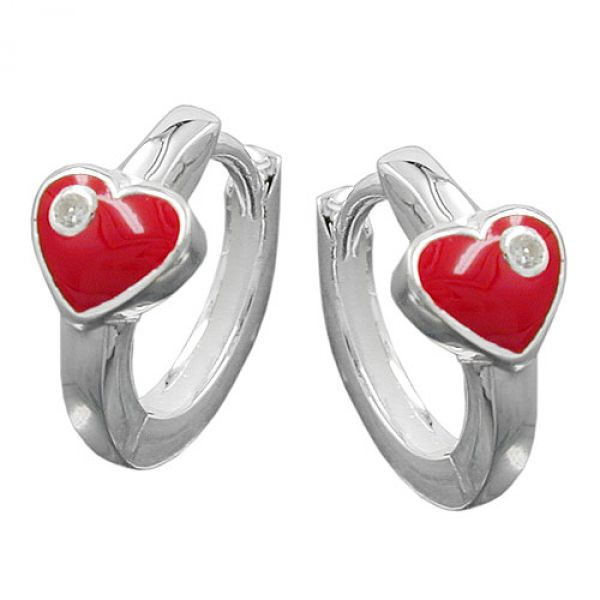 Creole, Herz rot mit Zirkonia Silber 925