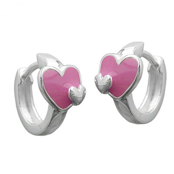 Creole, mit Herz pink-farbig Silber 925