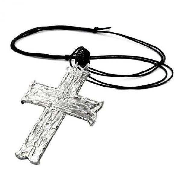 Kette, Anhänger Zinn, großes Kreuz
