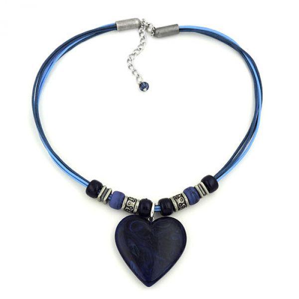 Kette, Landhaus, Herz blau marmoriert