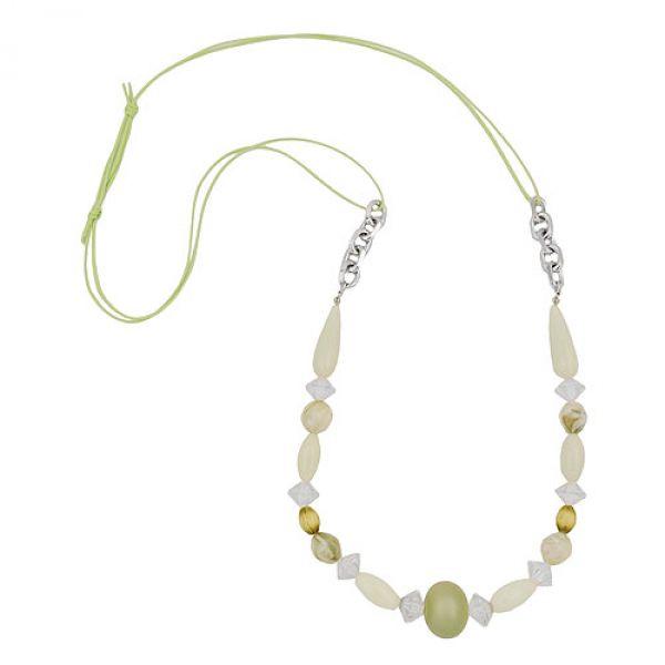 Kette, mint-oliv-kristall, Kordel mint