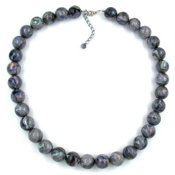 Kette, Perlen 16mm grau-ton marmor 45cm