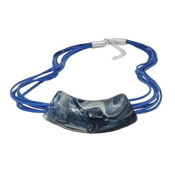Kette, Rohr flach-gebogen blau-silber