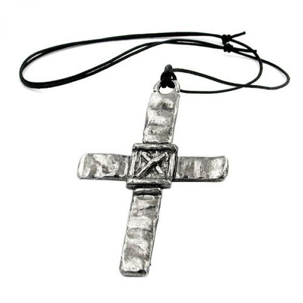 Kette, Zinn, großes Kreuz mit X