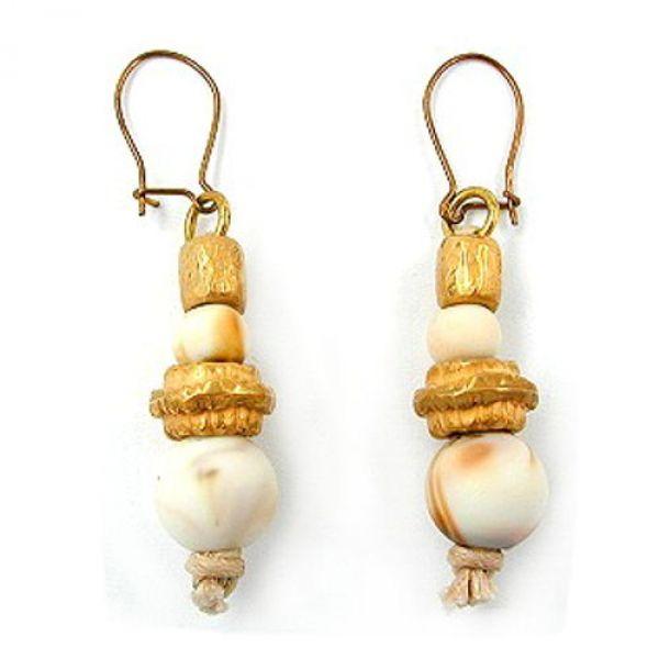 Ohrhaken, 2 Perlen high-gold