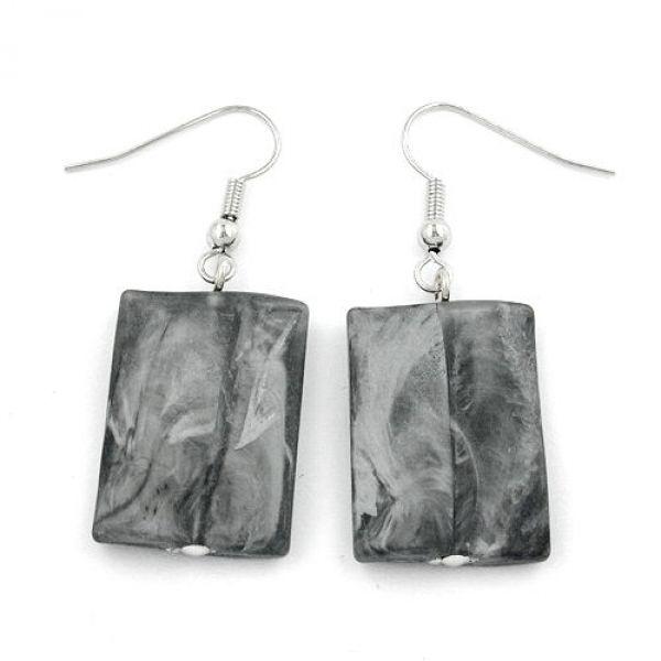 Ohrhaken, Viereck gewellt schwarz-grau