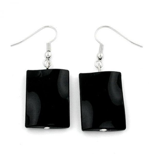 Ohrhaken, Viereck schwarz-glänzend