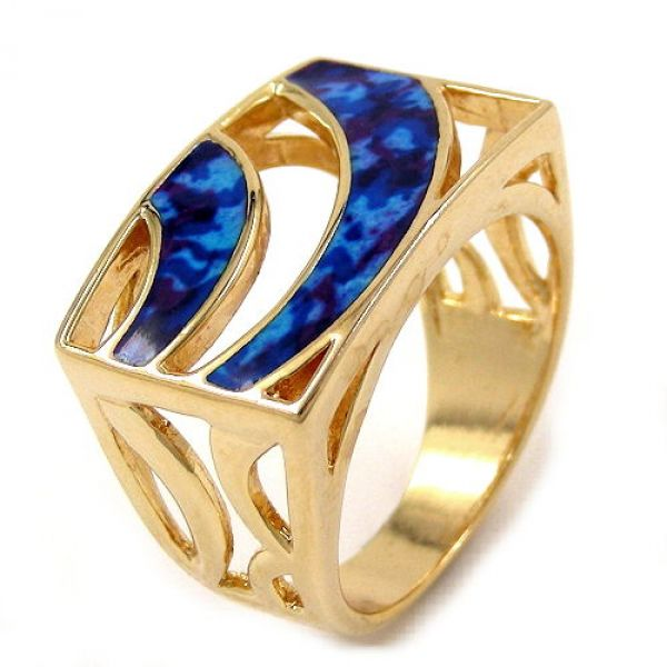 Ring, blau-marmor gold-plattiert