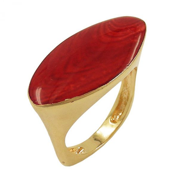 Ring, rot-marmor, gold-plattiert
