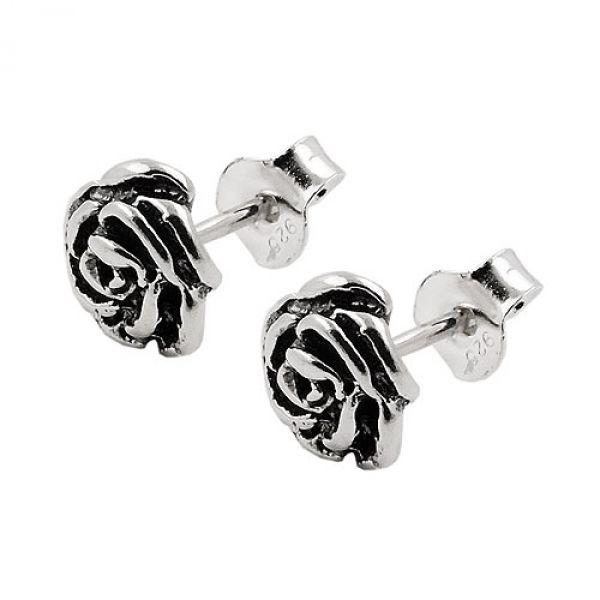 Stecker, Blume, geschwärzt, Silber 925