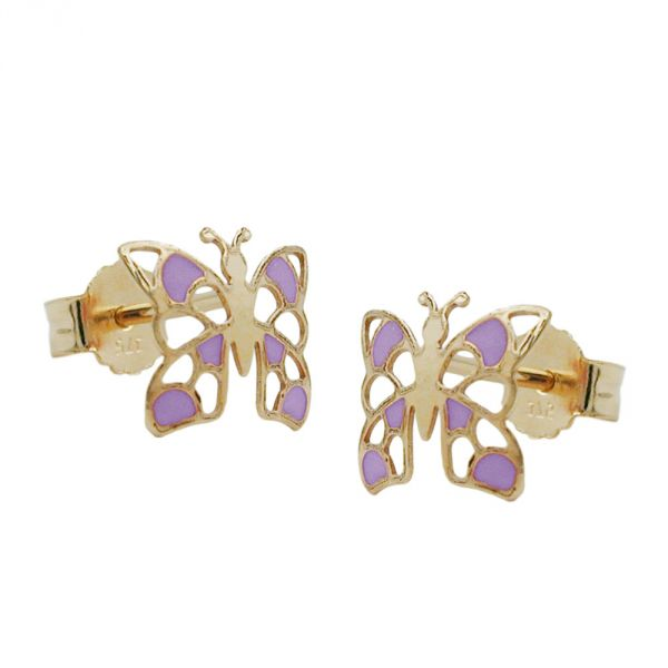 Stecker, Schmetterling lila, 9Kt GOLD