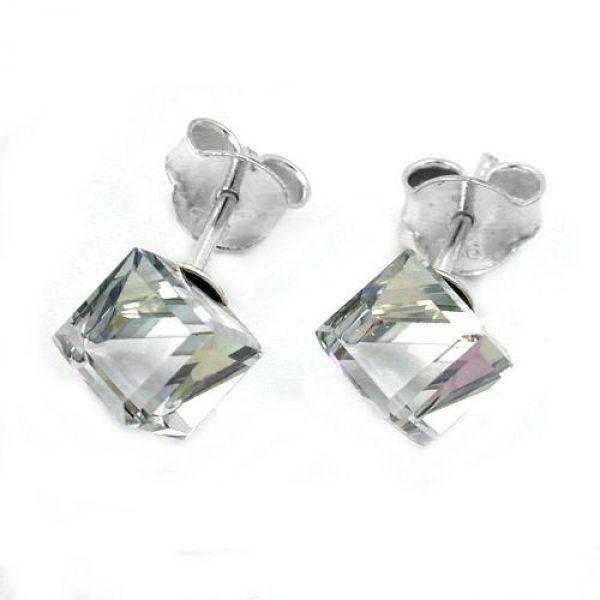 Stecker Glaswürfel AB-Effekt Silber 925
