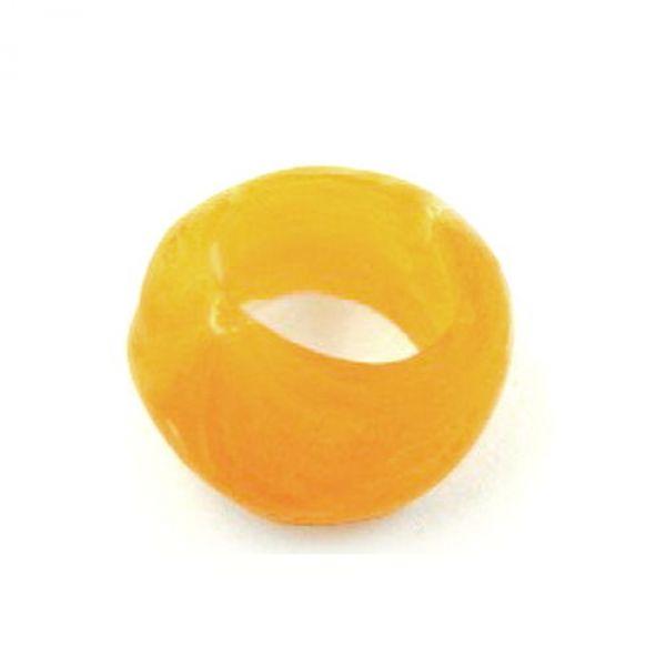 Tuchperle, rund, gelb-matt, Struktur