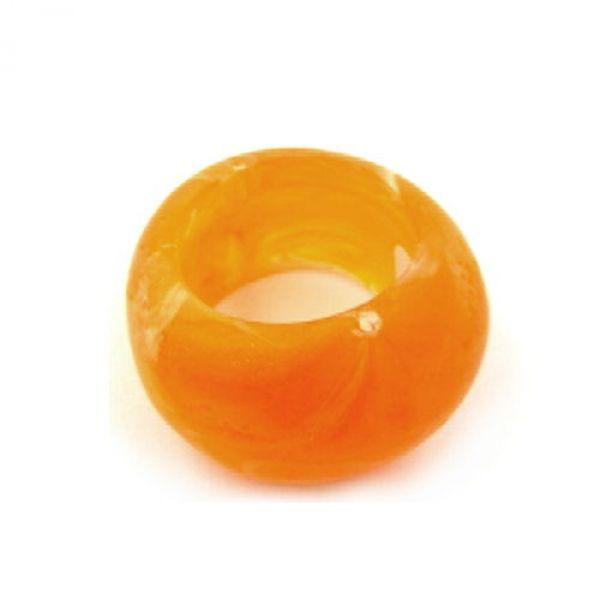 Tuchperle, rund, orange-matt, Struktur