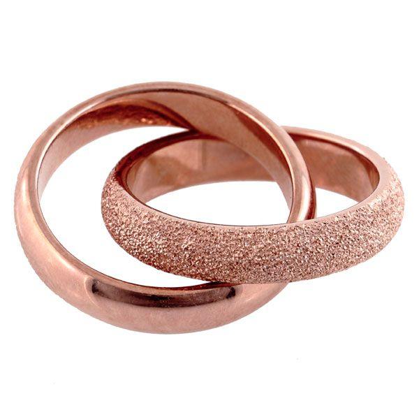 Zweier-Ring rosé mattiert - Silber 925/000