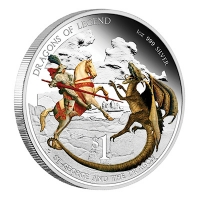 Tuvalu - 1 TVD Dragons of Legend St. Georg - 1 Oz Silber